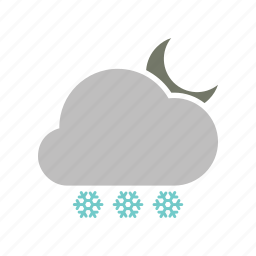 cloud, cloudy, forecast, moon, night, snowfall, weather icon
