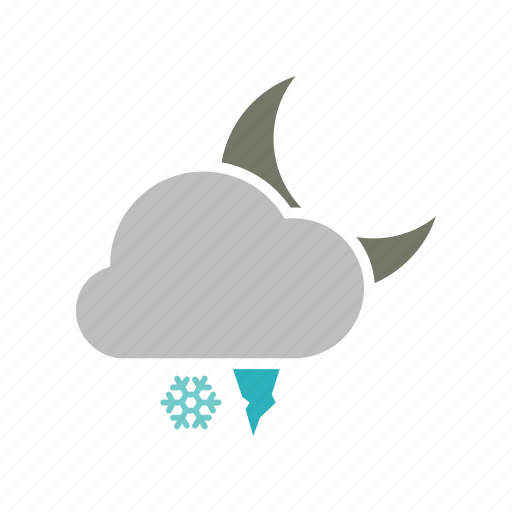 cloud, cloudy, forecast, hailstones, moon, night, snow, snowfall, weather, winter icon