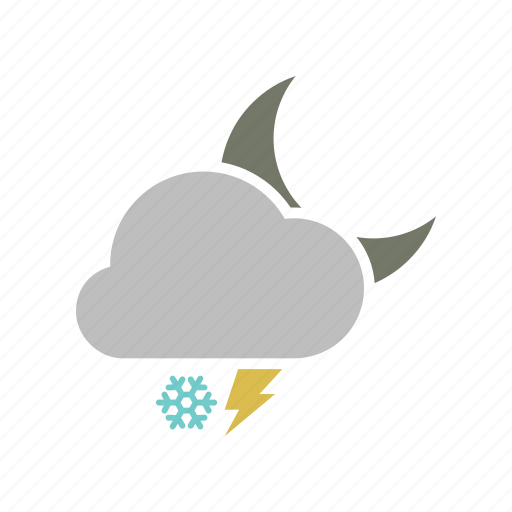 cloud, cloudy, electricity, forecast, lightning, moon, night, power, snow, snowfall, storm, weather, winter icon