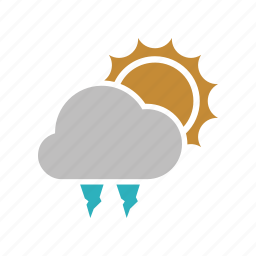 cloud, cloudy, forecast, hailstones, sun, sunny, weather icon