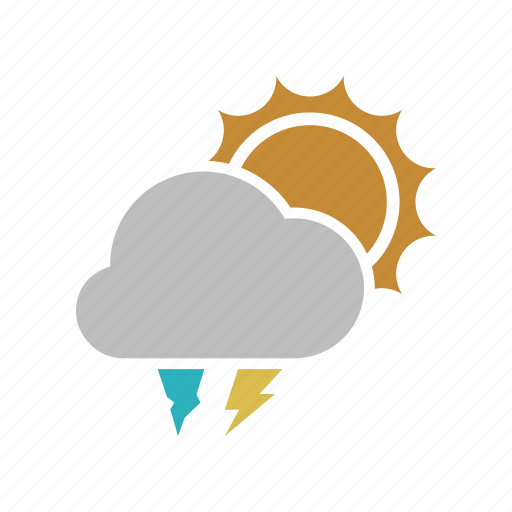 cloud, cloudy, electric, forecast, hailstones, lightning, power, sun, sunny, weather icon