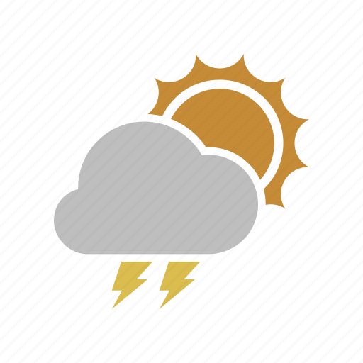 cloud, cloudy, electric, forecast, lightning, power, sun, sunny, weather icon