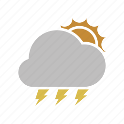 cloud, cloudy, electric, electricity, forecast, lightning, power, sun, sunny, weather icon
