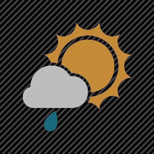 cloud, cloudy, forecast, rain, rainy, sun, sunny, weather icon