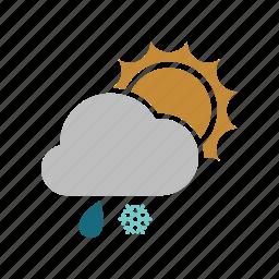 cloud, cloudy, forecast, rain, rainy, snow, snowfall, sun, sunny, weather icon