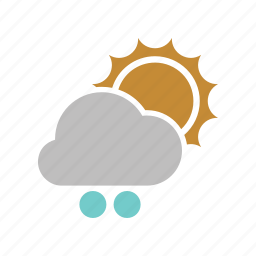 cloud, forecast, snowball, sun, sunny, weather, winter icon