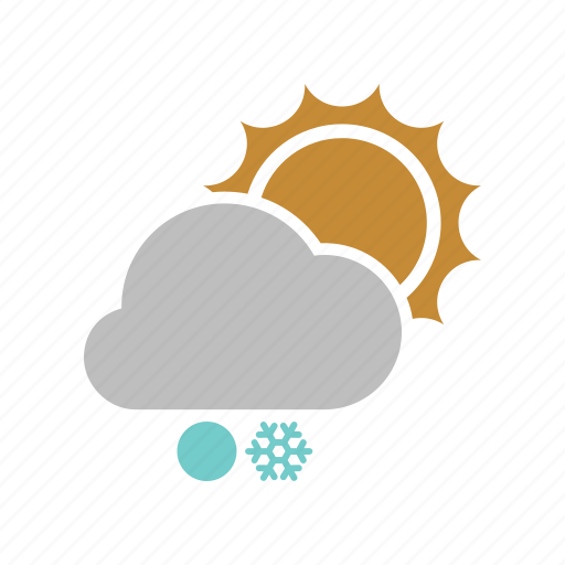cloud, cloudy, forecast, snow, snowball, snowfall, sun, sunny, weather, winter icon