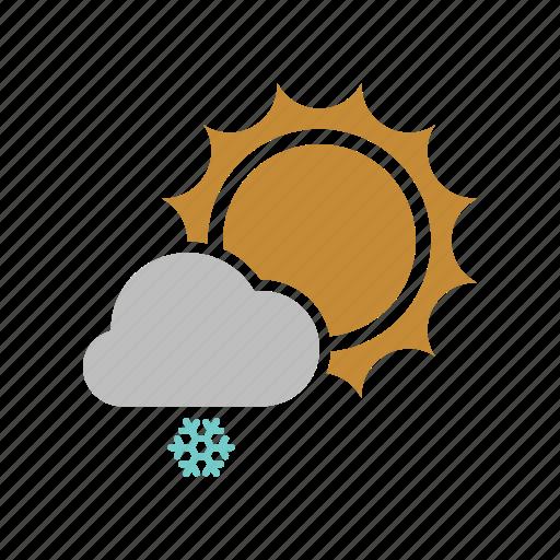 cloud, cloudy, forecast, snow, snowfall, sun, sunny, weather, winter icon