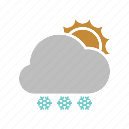 cloud, cloudy, forecast, snow, snowfall, sun, sunny, weather, winter icon