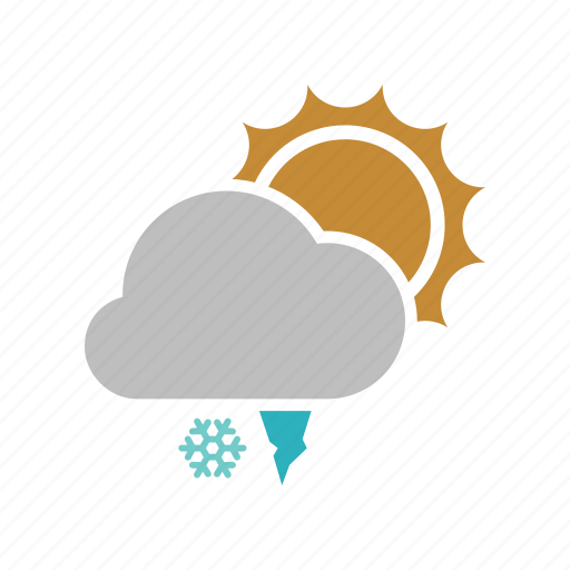 cloud, cloudy, forecast, hailstones, snow, snowfall, sun, sunny, weather, winter icon