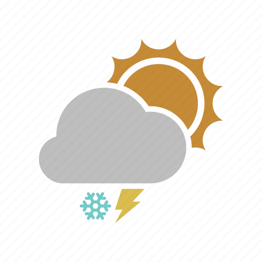 cloud, cloudy, electricity, energy, forecast, lightning, power, snow, snowfall, sun, sunny, weather, winter icon