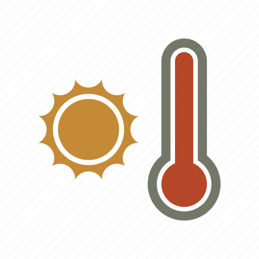 forecast, hot, sun, temperature, thermometer, weather icon