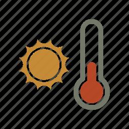 forecast, sun, temperature, thermometer, weather icon