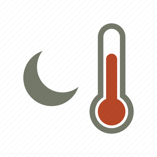 forecast, moon, temperature, thermometer, warm, weather icon