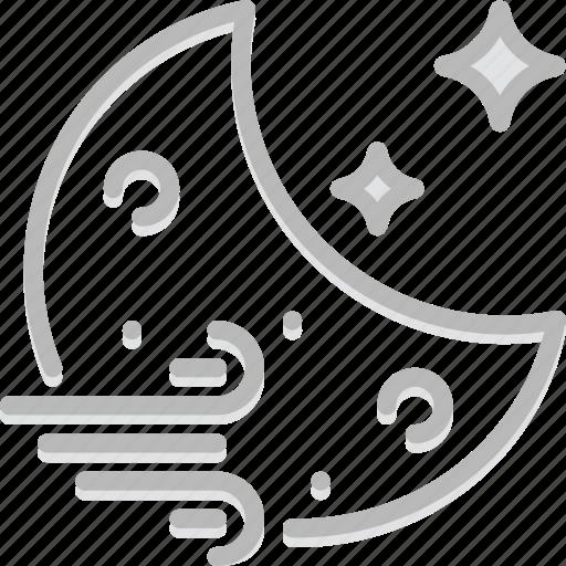 forecast, night, weather, windy icon