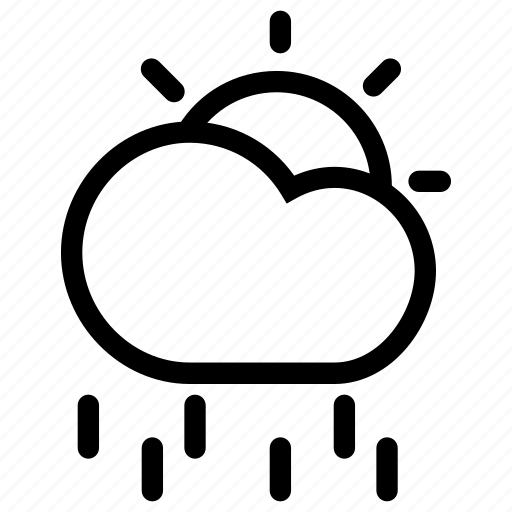 cloud, cloudy, creative, forecast, grid, line, rain, shape, sun, weather icon