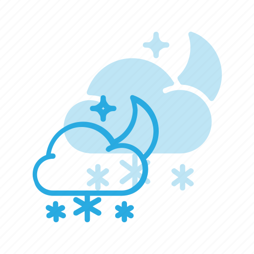forcast, night, snow, snowing, snowy, weather icon