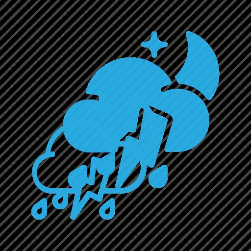 forcast, night, rain, storm, thunder, weather icon
