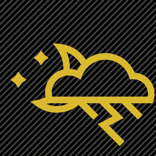 cloud, moon, rain, thunder, weather icon
