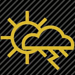 cloud, rain, sun, thunder, weather icon