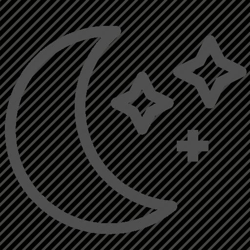 dark, lunation, midnight, moon, moonlight, night, stars icon
