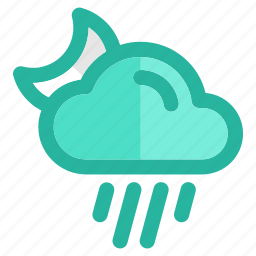 clouds, cloudy, forecast, night, rain, sky, weather icon