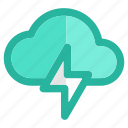 clouds, cloudy, lightning, rain, storm, sunny, weather icon