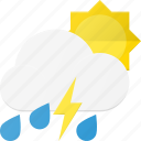 day, forcast, rain, storm, thunder, weather icon