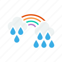 pleasant, rainbow, rainy, weather icon