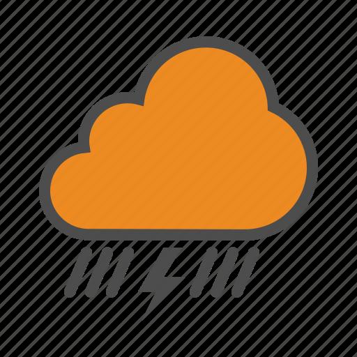 cloud, lightning, rain, storm, thunder, weather icon