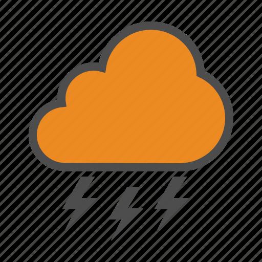 cloud, lightning, storm, thunder, weather icon