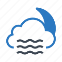 climate, cloud, moon, night, sleep icon