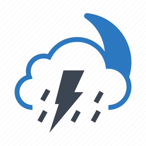 cloud, moon, night, raining, weather icon