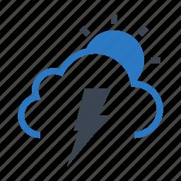 cloud, flash, shine, sun, weather icon