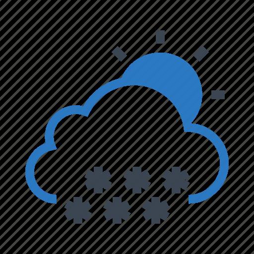 climate, cloud, snowfalling, sun, weather icon