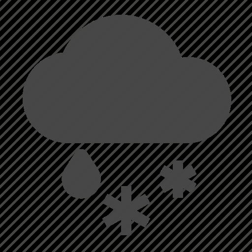 clouds, rain, snow, snowflake, weather, winter icon