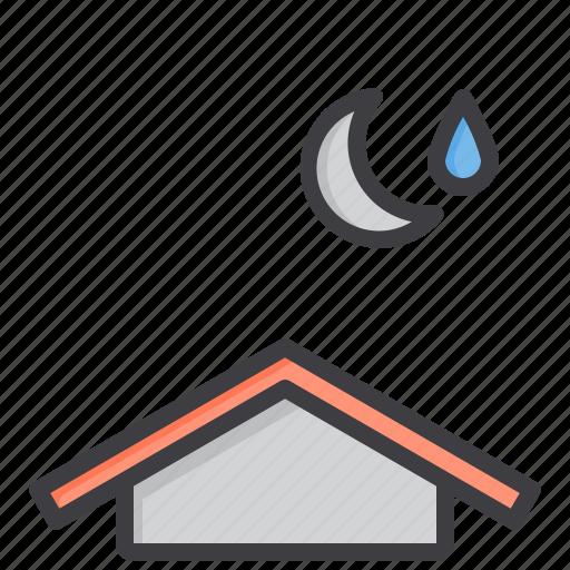 cloud, humidity, meteorology, moon, sky, weather icon