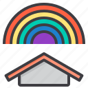 cloud, meteorology, rainbow, sky, weather icon