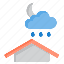 and, cloud, meteorology, night, rain, sky, weather icon