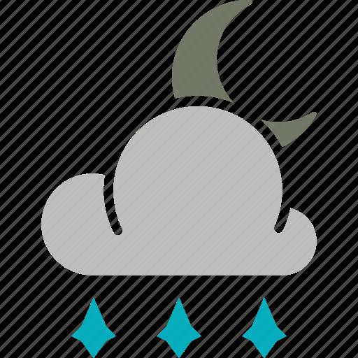 forecast, hailstones, moon, night, weather icon