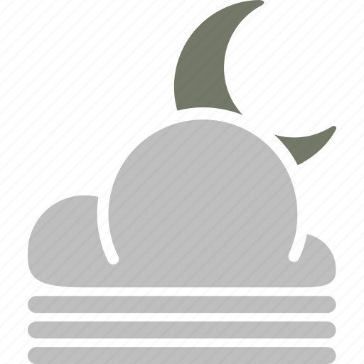 cloud, forecast, misty, moon, night, weather icon