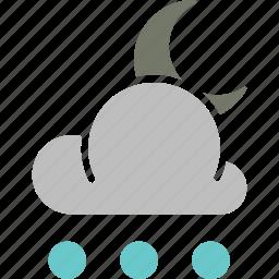 forecast, moon, night, rain, snowball, weather icon