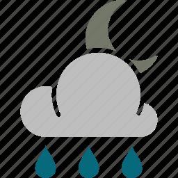 forecast, moon, night, rainy, weather icon