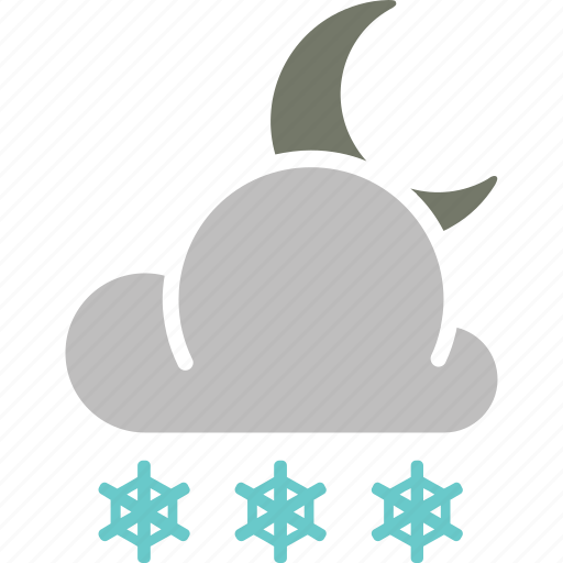 forecast, moon, night, snow, snowfall, weather icon