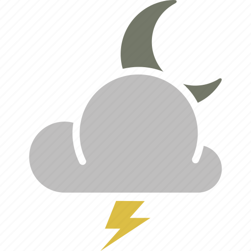 forecast, lightning, moon, night, thunderstorm, weather icon