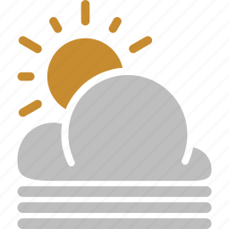 cloud, forecast, misty, sun, sunny, weather icon