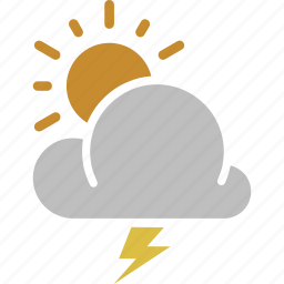 forecast, lightning, sun, sunny, thunderstorm, weather icon