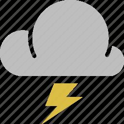 cloud, forecast, lightning, sun, thunderstorm, weather icon