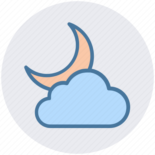 cloud, cool, crescent, moon, night, weather icon