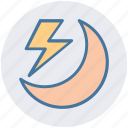 forecast, lightning, moon, storm, thunder, weather icon